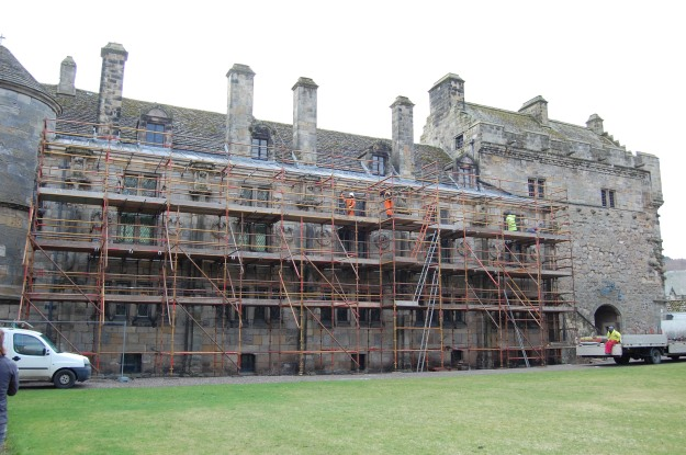 The Palace hidden behind scaffolding. We now have some information boards and signs up telling you about the conservation to make it a bit more interesting.