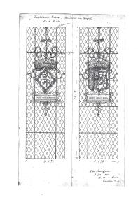 Sketch by H.W Lonsdale for window of Mary Queen of Scots and Henry Stuart, Lord Darnley. Image courtesy of National Trust for Scotland Archive.