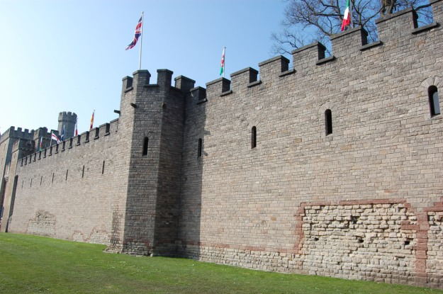 The red sandstone string course which Bute often used during restoration work. This is the Roman Fort wall at Cardiff Castle, another of Bute's properties, restored by Lord Bute in the 1890's.
