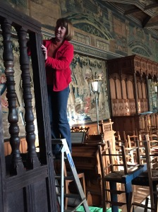 Photo 6- Anne at work in the Chapel at Falkland Palace, preparing the wood so that a cast of the ring-pattern can be taken.